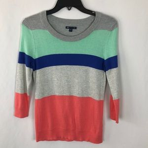 Gap striped multi color crew neck sweater